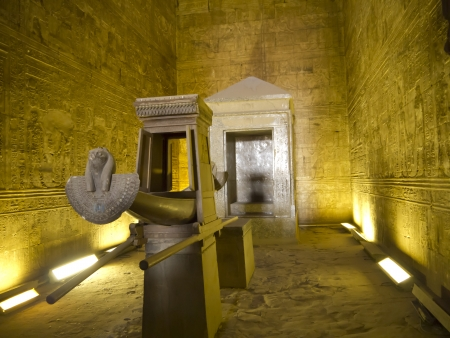 Funerary Boat in the holy of holies at the Temple at Edfu in Egypt which is dedicated to the God Horus