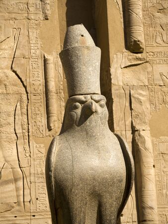 Statue of God Horus at the Temple at Edfu in Egypt which is dedicated to the God Horus