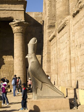 the Temple at Edfu in Egypt which is dedicated to the God Horus