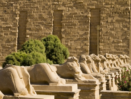 The Avenue of Rams at Ancient Temple Complex of Karnak near Luxor in the Nile Valley in Egypt Editorial