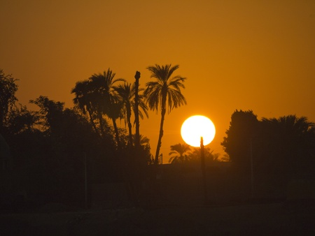 Setting Sun over River Nile on a Nile Cruise, Egypt photo