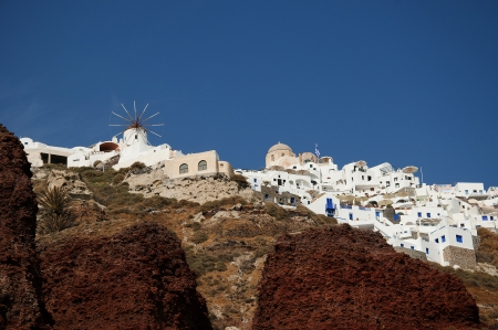 Windmill in the Town of Oia on the Island of Santorini Greece