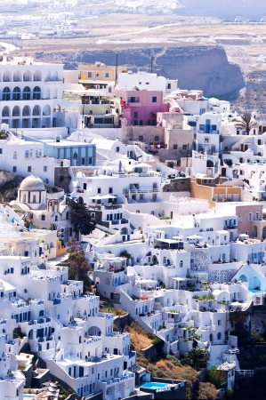 White buildings in Fira Capital of the Island of Santorini photo