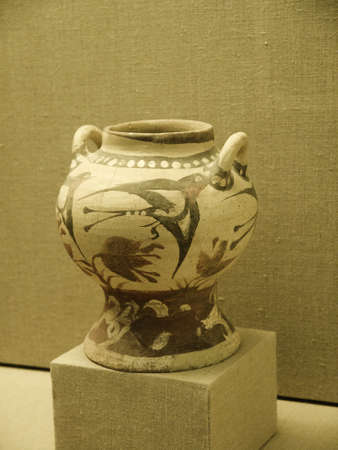 eacute: Pottery from Akrotiri a city buried by the explosion of the volcano on Santorini 4000 years ago that may be the lost city of Atlantis Editorial