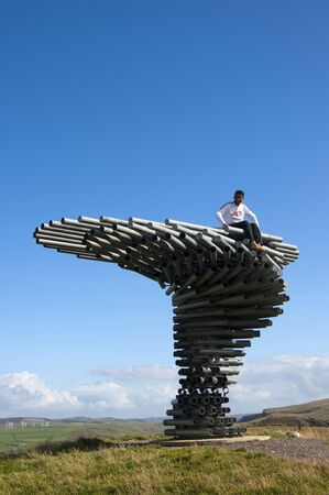 burnley: The Singing Ringing Tree Panopticon high on the moors above Burnley  in Lancashire in Northern England Editorial