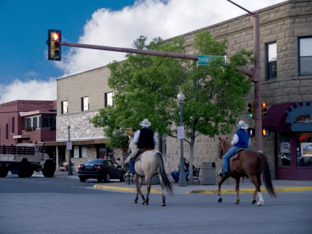 Cowboys in town of Cody Wyoming USA