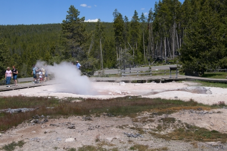 Geothermal Pool in Yellowstone National Park Wyoming USA photo