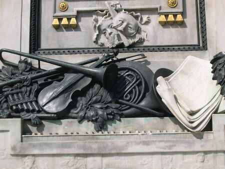 mozart: Detail of Statue of Mozart in Vienna Austria          Stock Photo