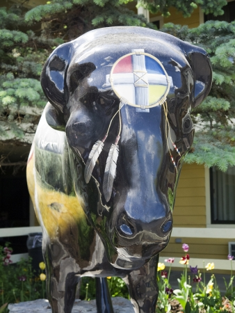 Painted Buffalo Statue in Jackson Hole Wyoming uSA