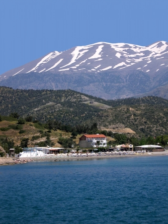 Mount Ida Covered in Snow on the Island of Crete photo