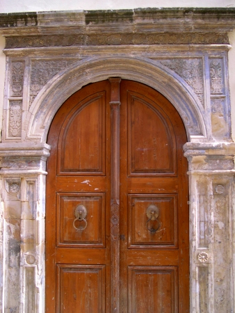Carved Door in Rethymno Crete photo