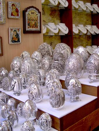 rethymno: Beautiful Silver Easter Eggs in Rethymno in Crete Greece Editorial