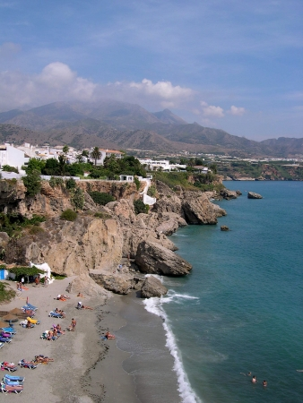 Beach scenes in Nerja, a sleepy Spanish Holiday resort on the Costa Del Sol  near Malaga, Andalucia, Spain, Europe Stock Photo - 14736530