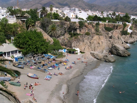Beach scenes in Nerja, a sleepy Spanish Holiday resort on the Costa Del Sol  near Malaga, Andalucia, Spain, Europe Stock Photo - 14899749