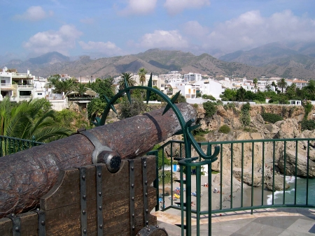 Cannon on the Balcon de Europa in Nerja, a sleepy Spanish Holiday resort on the Costa Del Sol  near Malaga, Andalucia, Spain, Europe photo