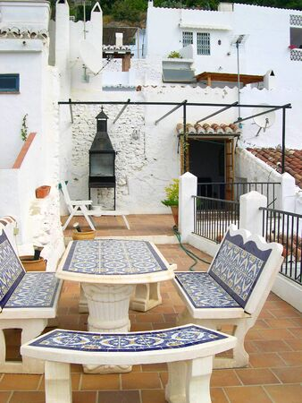 Sunny Terrace in Frigiliana Andalucia Spain photo