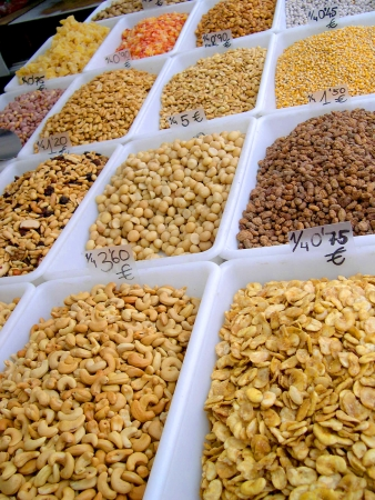 Nuts for sale on market in Nerja Andalucia Spain Stock Photo - 14810467