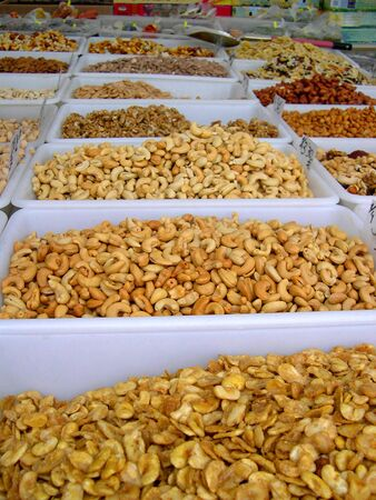 Nuts for sale on market in Nerja Andalucia Spain photo