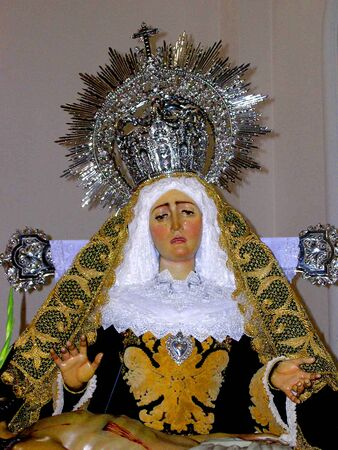 Madonna in Easter procession in Nerja Andalucia Spain