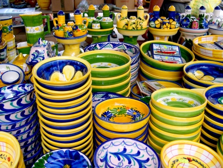 spanish tile: Pottery on Market in Nerja in Andalucia Spain Stock Photo