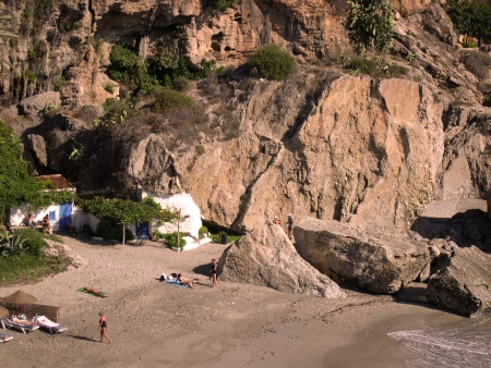 Beach scenes in Nerja, a sleepy Spanish Holiday resort on the Costa Del Sol  near Malaga, Andalucia, Spain, Europe Stock Photo - 14820148