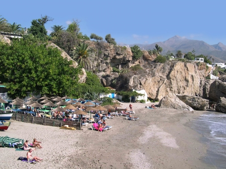 Beach scenes in Nerja, a sleepy Spanish Holiday resort on the Costa Del Sol  near Malaga, Andalucia, Spain, Europe Stock Photo - 14820136