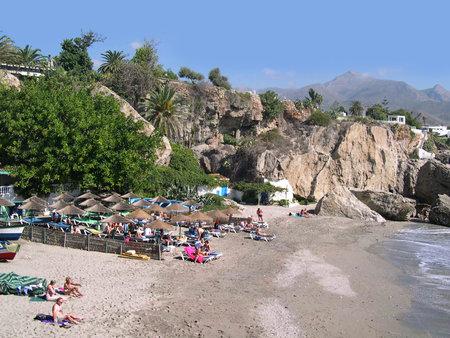 Beach scenes in Nerja, a sleepy Spanish Holiday resort on the Costa Del Sol  near Malaga, Andalucia, Spain, Europe Stock Photo - 14820136