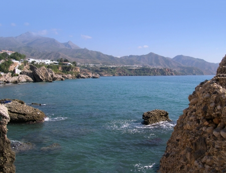 Beach scenes in Nerja, a sleepy Spanish Holiday resort on the Costa Del Sol  near Malaga, Andalucia, Spain, Europe Stock Photo - 14859938