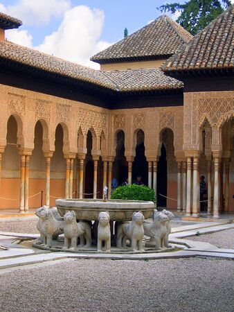 falla: the Court of Lions at the 13th century Alhambra Palace in Granada Spain