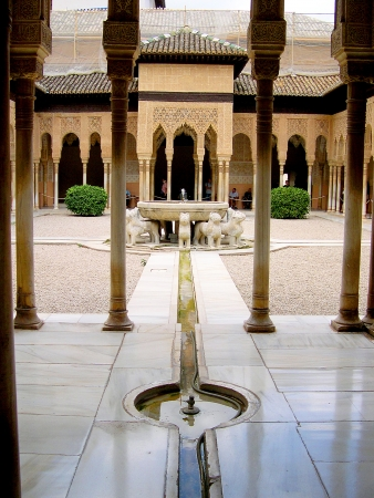 the Court of Lions at the 13th century Alhambra Palace in Granada Spain Stock Photo - 14820599