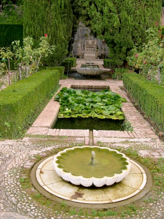 courtyard: The Generalife Gardens of the Summer Palace of the 13th century Alhambra Palace in Granada Spain