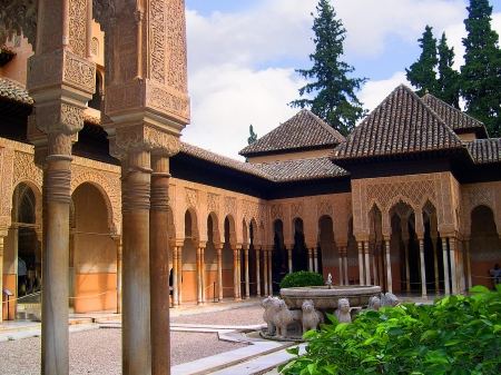 the Court of Lions at the 13th century Alhambra Palace in Granada Spain