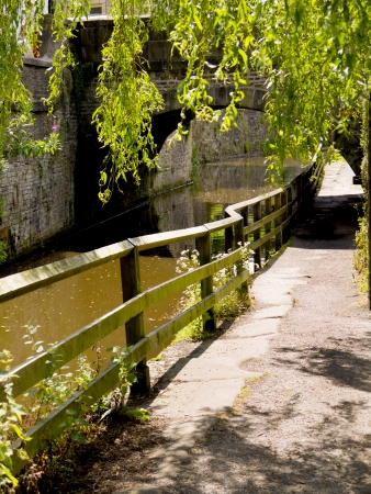 River behind Skipton Castle in North Yorkshire photo