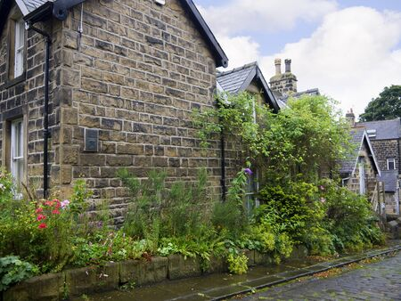 wharfedale: Back Street en la ciudad balneario de Ilkley en West Yorkshire Inglaterra