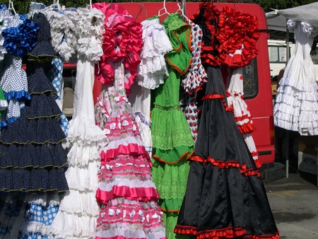 Flamenco dresses for sale on Nerja Market on the Costa Del Sol in Spain Stock Photo - 14919575