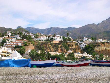 Beach scenes in Nerja, a sleepy Spanish Holiday resort on the Costa Del Sol  near Malaga, Andalucia, Spain, Europe Stock Photo - 14887430