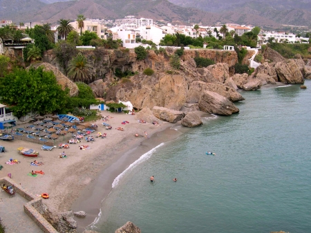 Beach scenes in Nerja, a sleepy Spanish Holiday resort on the Costa Del Sol  near Malaga, Andalucia, Spain, Europe Stock Photo - 14957182