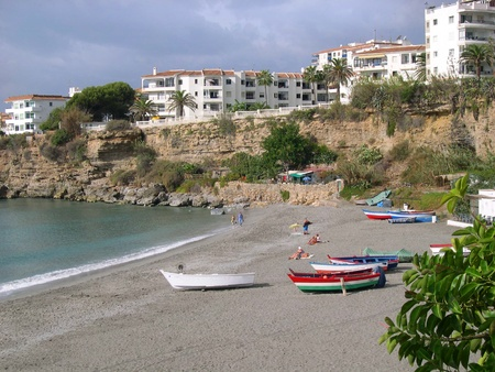 Beach scenes in Nerja, a sleepy Spanish Holiday resort on the Costa Del Sol  near Malaga, Andalucia, Spain, Europe Stock Photo - 14957181