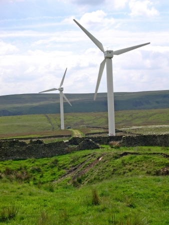 windfarm: 24 wind Turbines on  Windfarm on the moors above Burnley in Lancashire Stock Photo
