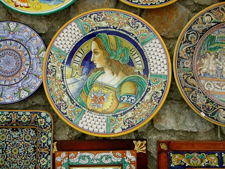 Traditional Sorrentine Pottery in Ravello Campania Southern Italy Editorial
