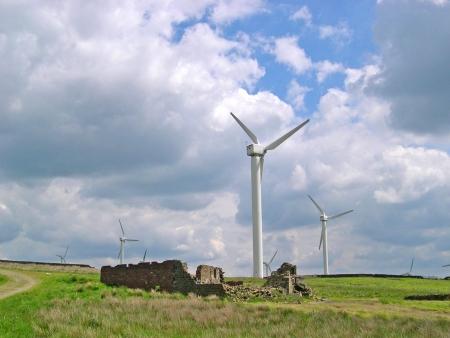 burnley: 24 wind Turbines on  Windfarm on the moors above Burnley in Lancashire Stock Photo
