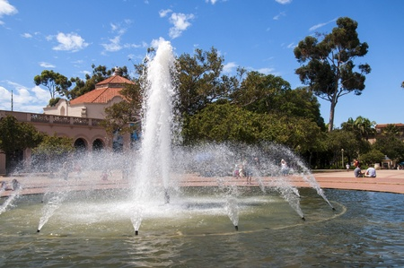 Fountains in Balboa Park in San Diego California USA photo