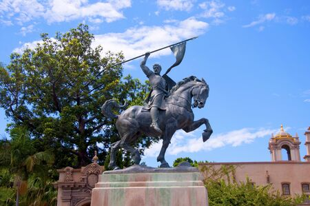 cid: Statue of El Cid in Balboa Park in San Diego California USA Stock Photo
