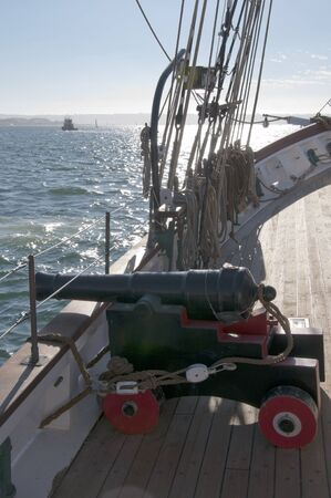 Cannon on Tall Ship in San Diego California USA photo