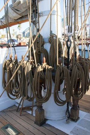 Belaying pins on Tall ship in San Diego California USA photo