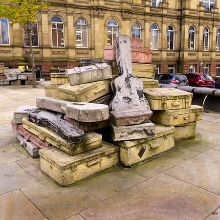Sculpture called Case Study in the street in Liverpool England Stock Photo - 15664934