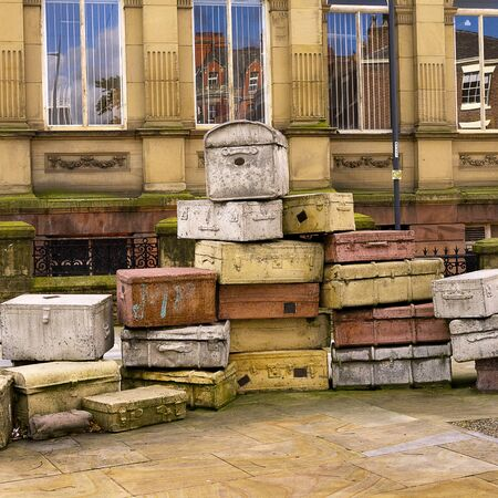 Sculpture called Case Study in the street in Liverpool England Stock Photo - 15664931