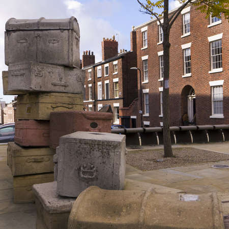 Sculpture called Case Study in the street in Liverpool England Stock Photo - 15664280