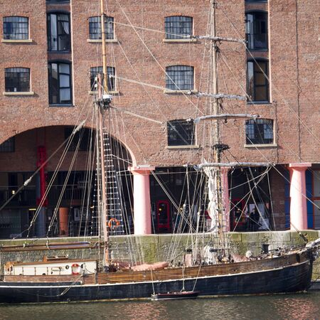 Ship in the Albert Dock in the City of Liverpool England Stock Photo - 15666289
