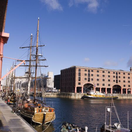 Ship in the Albert Dock in the City of Liverpool England Stock Photo - 15665395